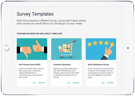 survey templates feature